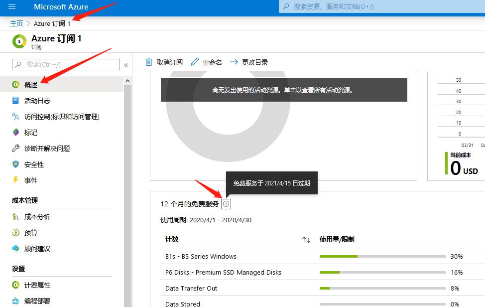 查询微软云Azure 12个月的免费服务于何时到期