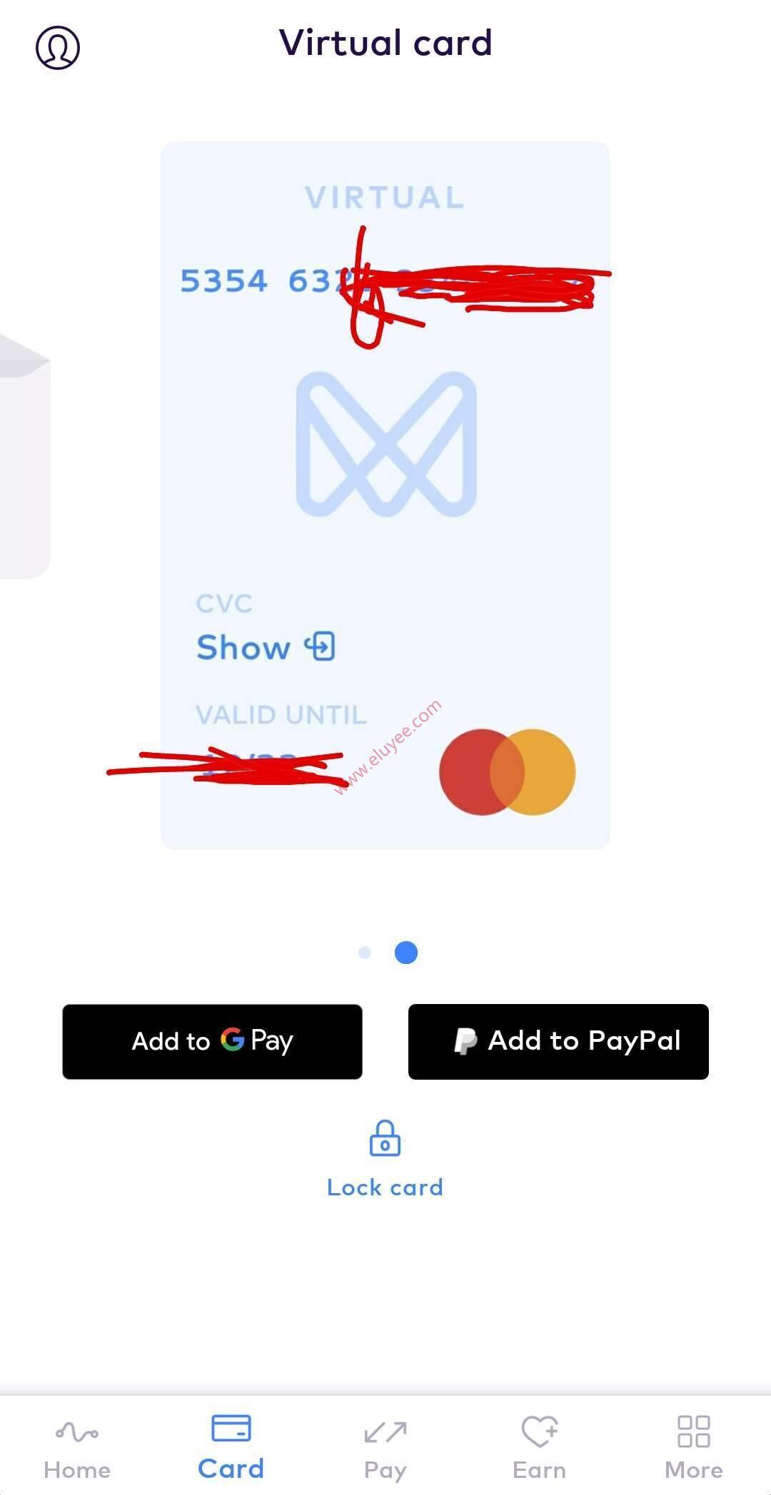 Monese虚拟信用卡