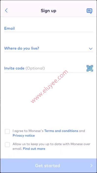 注册Monese