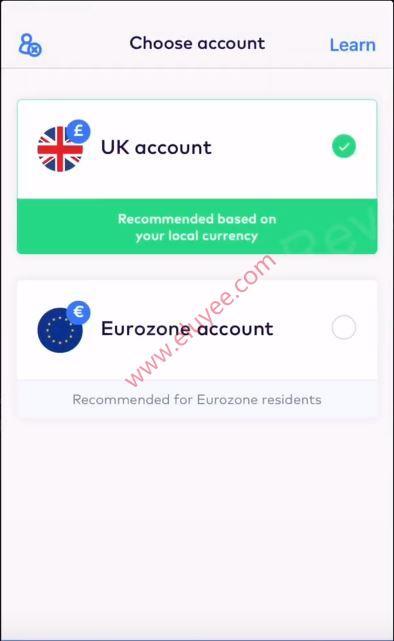 选择英国或欧盟账户