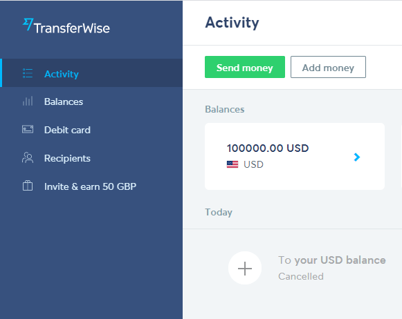 Velo银行账户入金,全球付中转到Transferwise通过ACH转账
