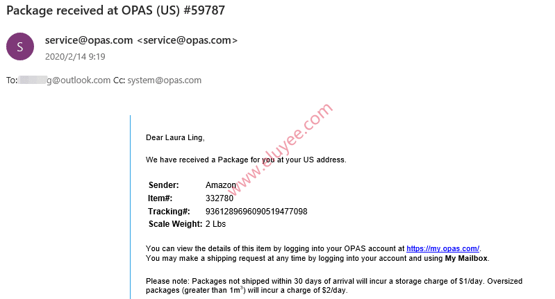 OPAS包裹入仓提供