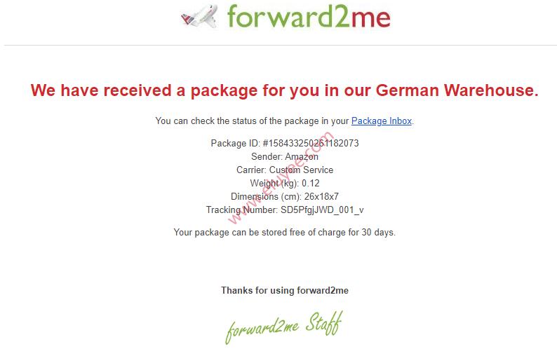德国仓库收到德国亚马逊包裹
