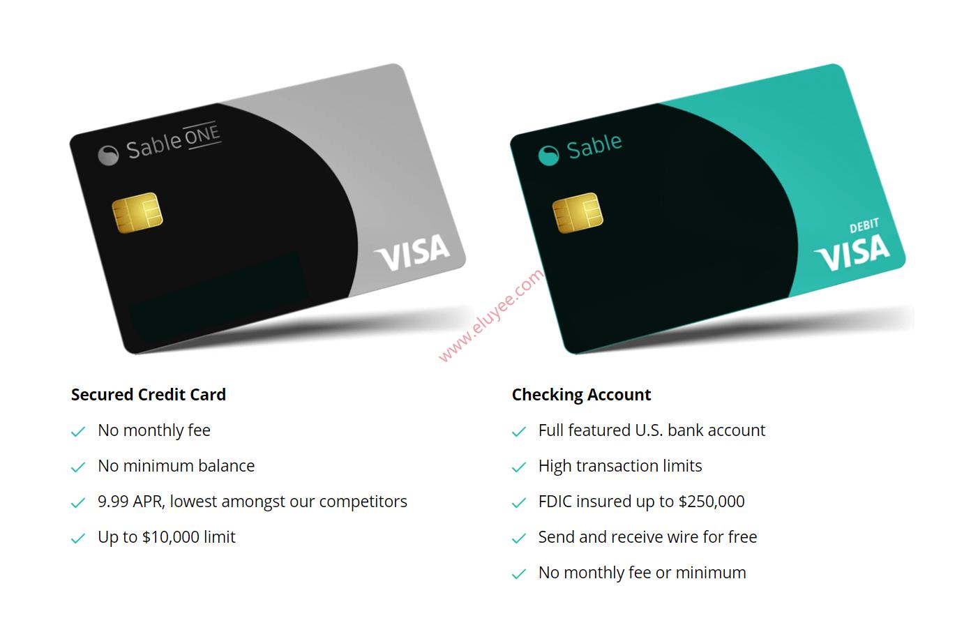 Sable美国移动美国,Checking账户和美国信用卡