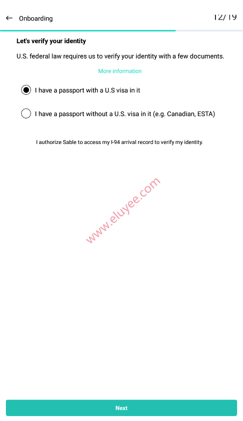 提交护照和美国签证进行身份验证