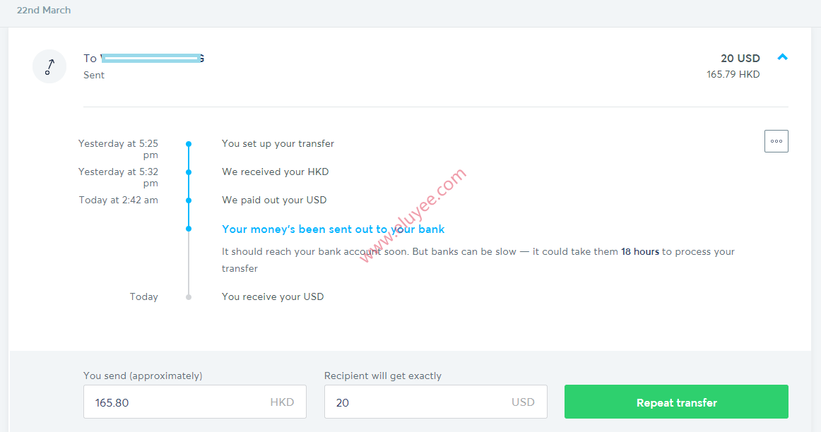 Transferwise发送港币,Velo账户接收美元