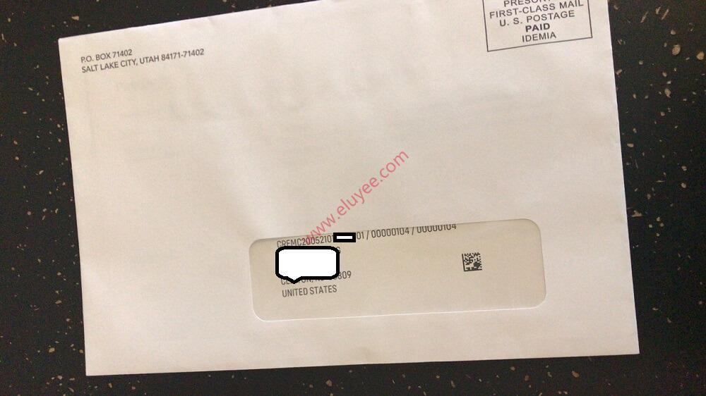 USPS派送Passbook Debit Cara