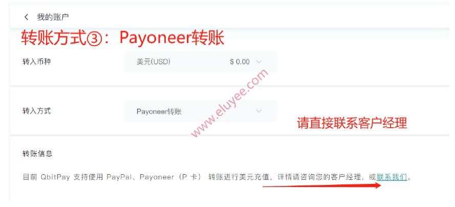 Payoneer账户充值QbitPay账户