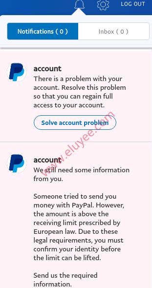 德国区Paypal验证身份通知
