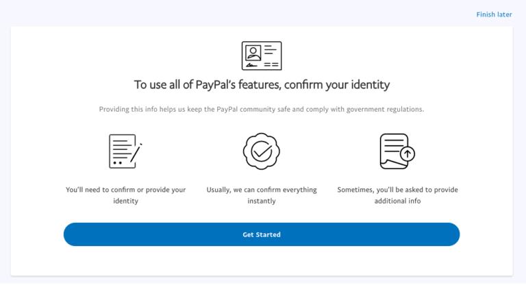 提交信息给Paypal确认身份