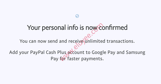 Paypal确认了个人身份信息