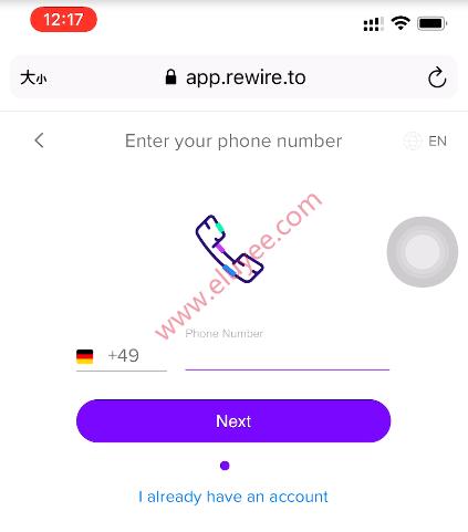Rewire注册-输入电话号码