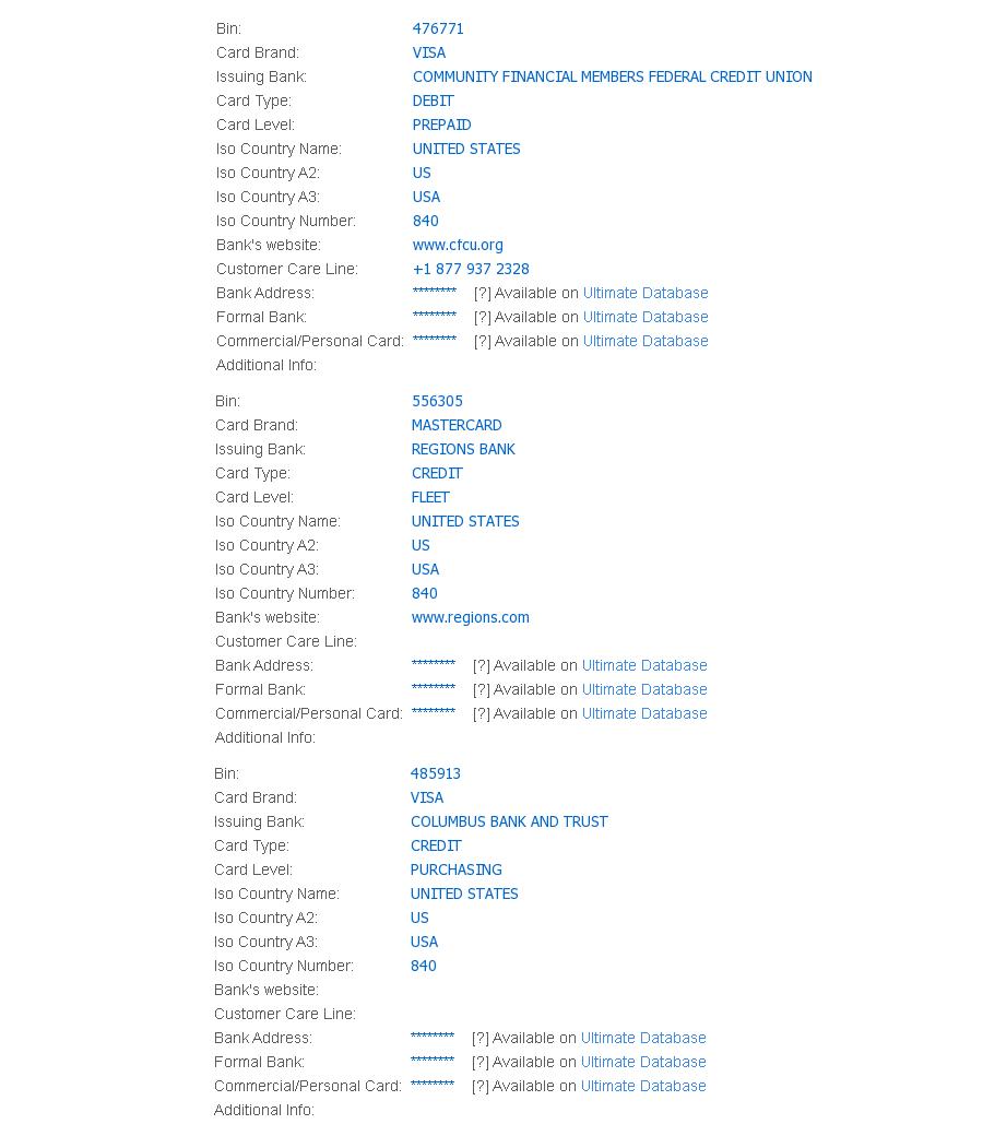 虚拟卡 卡Bin 476771,556305,485913