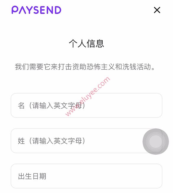 Paysend注册-输入个人信息